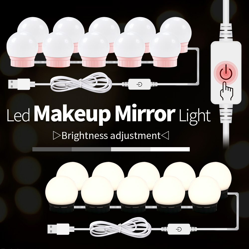 12V Makeup Table Mirror Light Led Hollywood Vanity Lamp Led Dressing Table 10 Bulbs Kit USB 5V Dimmable Make Up Cosmetic Bulb