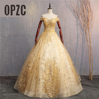 Gold Luxury Lace Appliques Ball Gown Quinceanera Dress 2019 Sparkle Crystal Tulle off shoulder Sweet 16 Dress Debutante Gowns