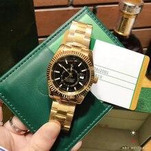 Роскошные Брендовые мужские кварцевые часы с датой дня водонепроницаемые Бизнес наручные часы с ремешком из нержавеющей стали SKY-DWELLER Heren horloge