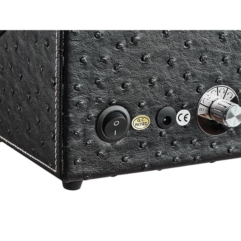 Jqueen padrão de avestruz preto assista winder com motores silenciosos 2 + 0 armazenamento alta qualidade - 4