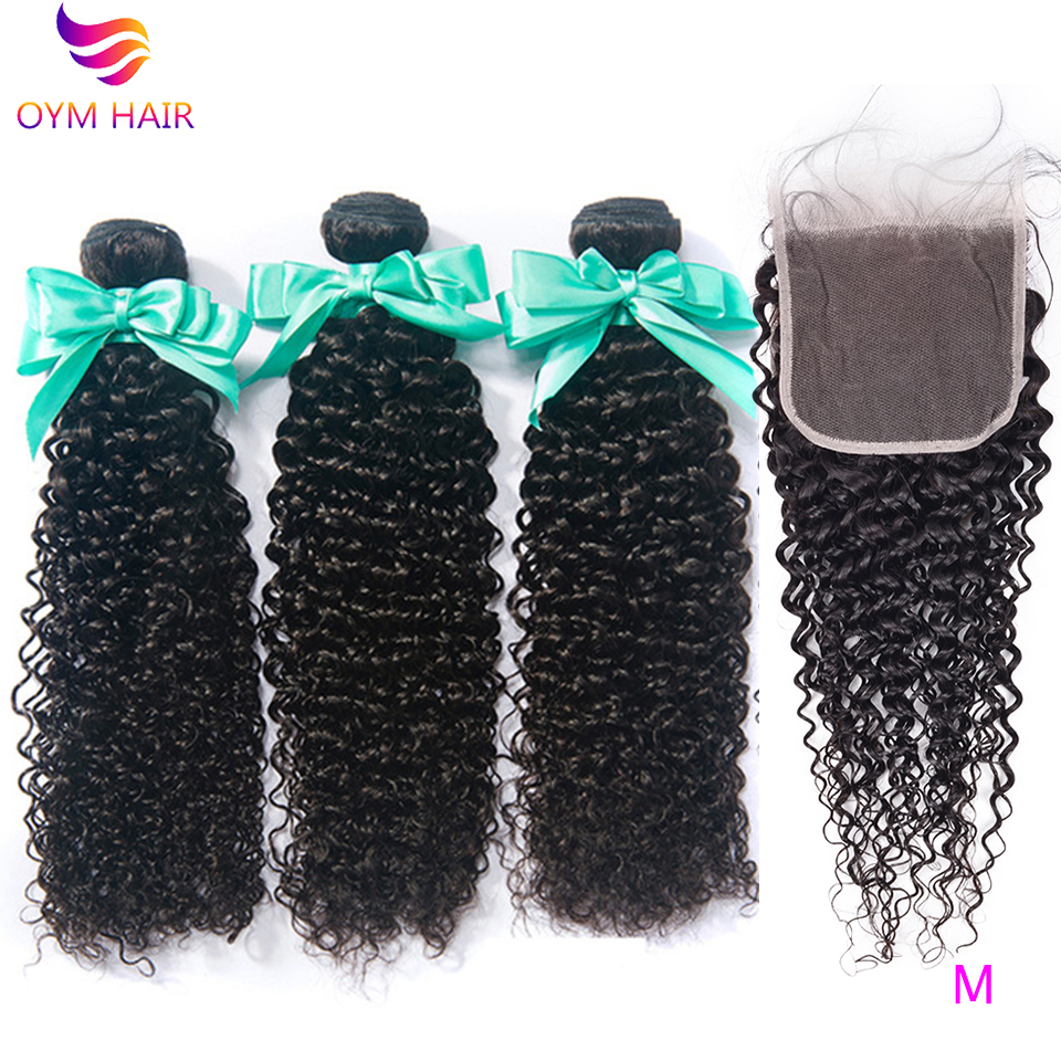 OYM HAIR Peruvian 100% Human Hair Curly Bundles With 5x5 6x6 Lace Closure Non-Remy Hair 3 Bundles With Closure