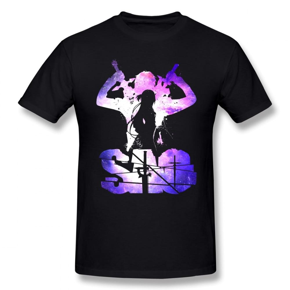 Sword Art Online T Shirt SAO T-Shirt Fun Casual Tee Shirt 100% Cotton Short-Sleeve Printed Male Plus Size Tshirt