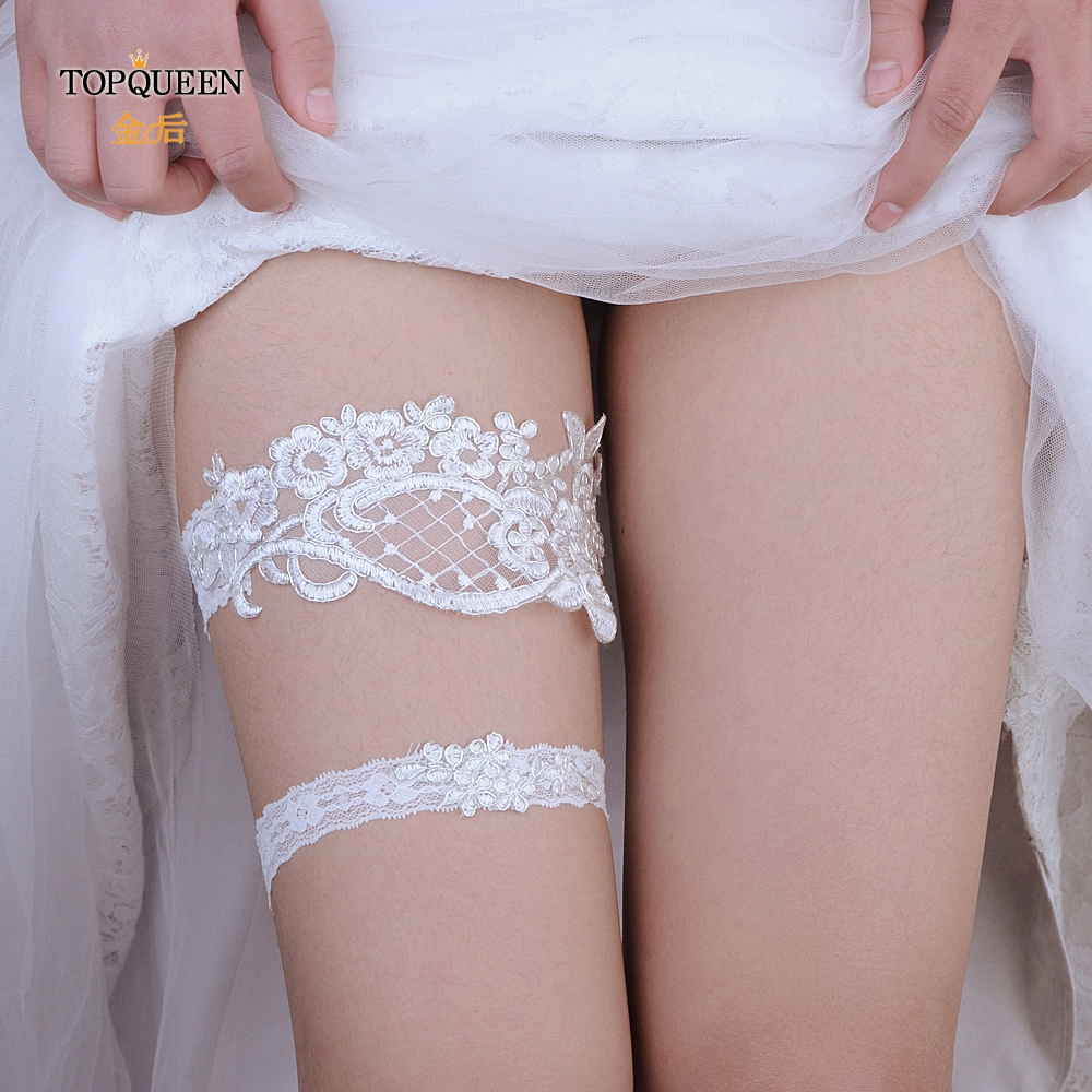 TOPQUEEN Wedding Garters Lace Embroidery Floral Sexy Garters For Women/Bride Thigh Ring Bridal Leg Garter 2pcs/Set TH03 TH04