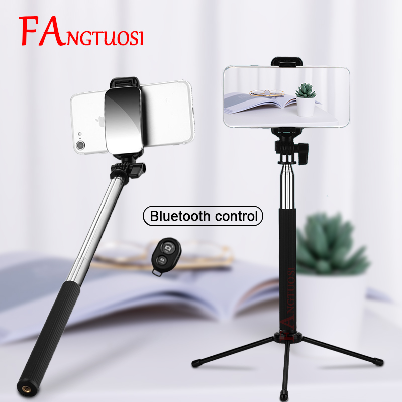 FANGTUOSI Lengthened Version Wireless Bluetooth Selfie Stick Handheld Monopod With Mirror +  Remote Control + Tripod