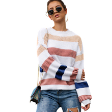 Rainbow Long Sleeve Knitted Sweater Women Sweaters and Pullovers Splice Color Block O Neck Knitting Top female Oversized Jumpers