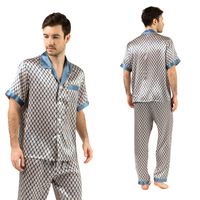 Sleepwear Men Natural Silk Satin Pyjamas Set Summer Mens Pajamas Short Sleeve Printed Lounge Charmeuse Home Suit Nightwear XXL