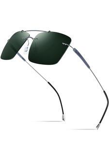 FONEX Rimless Sunglasses Square Titanium-Alloy Women Polarized Ultralight TR90 for 20009