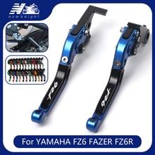 Per YAMAHA FZ6 FAZER 2004 2010 FZ6R 2009 2015 Accessori Moto Pieghevole Allungabili Freno Leve di Frizione Laser logo FZ6