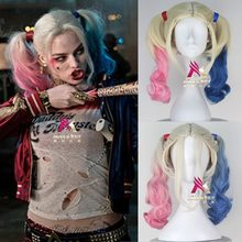 anime party Hair halloween Harley Quinn Cosplay Wig Styled Wavy Synthetic Ponytail Wig High Temperature Fiber Cosplay +wig cap(China)