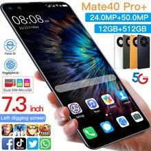 Mate40pro – Smartphone android 7.3, Version globale, téléphone portable, 10.0 pouces, reconnaissance faciale, MTK6889, Double carte SIM