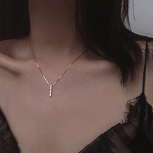 ANENJERY Simple Strip Geometric Cubic Zircon Necklace Silver Color Clavicle Chain Charm Necklace For Women S-N545