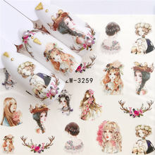 FWC 1 PC Black Flower / Character/Princess Designs Water Transfer Sticker Nail Art Decals DIY Fashion Wraps Tips Manicure Tools