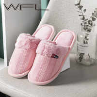 WFL zapatos de mujer zapatos de interior zapatillas de invierno calientes acogedor de algodón suave suela antideslizante zapatos de Casa zapatos de mujer тапочки домашние женские