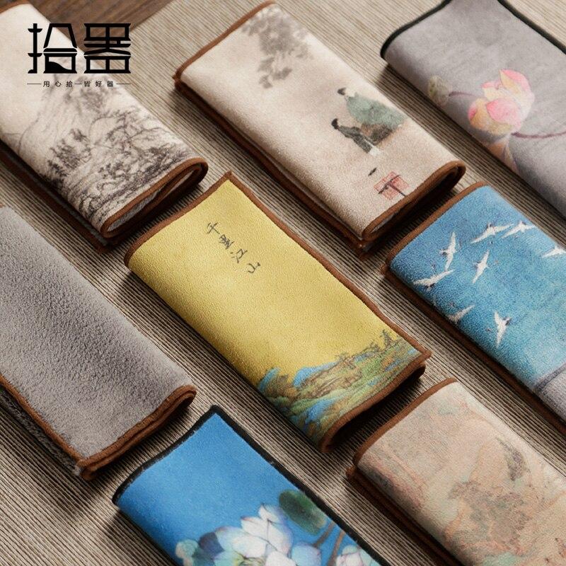 Trung Quốc Cao Cấp Trà Khăn Trà Vải Khăn Trải Bàn Thấm Hút Bàn Trà Thảm Nuôi Nồi Khăn Trà Thảm Dày Trà khay Bàn ACC