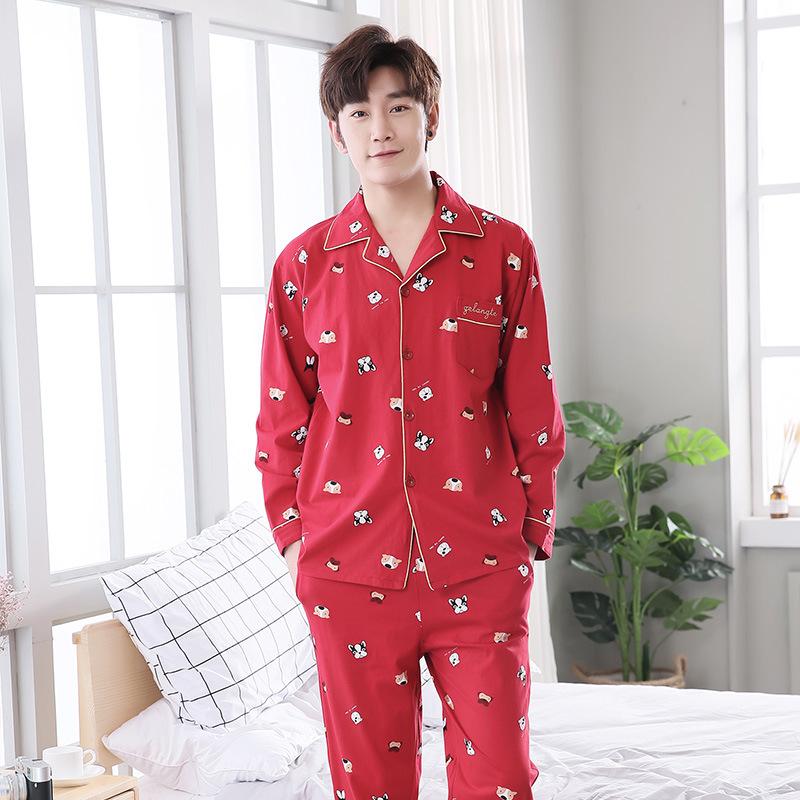 Suit Pajamas-Sets Nightwear Sleep-Clothing Sleepwear Men Male Winter Mens Casual Man
