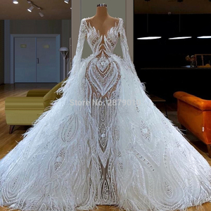 Image 2 - Junoesque V Neck Evening Dress Mermaid Beaded Pearl Long Sleevees Tulle Floor Length Women Dress Prom Party Dress Haute Couture