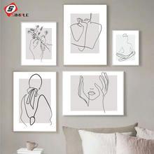 Абстрактная Женская линия Рисование Картина Декор для дома искусство