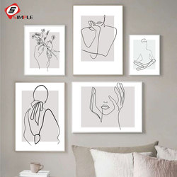 Abstract Lady Line Drawing Picture Home Decor Nordic Canvas Painting Wall Art Figure Body Hand Posters and Print for Living Room