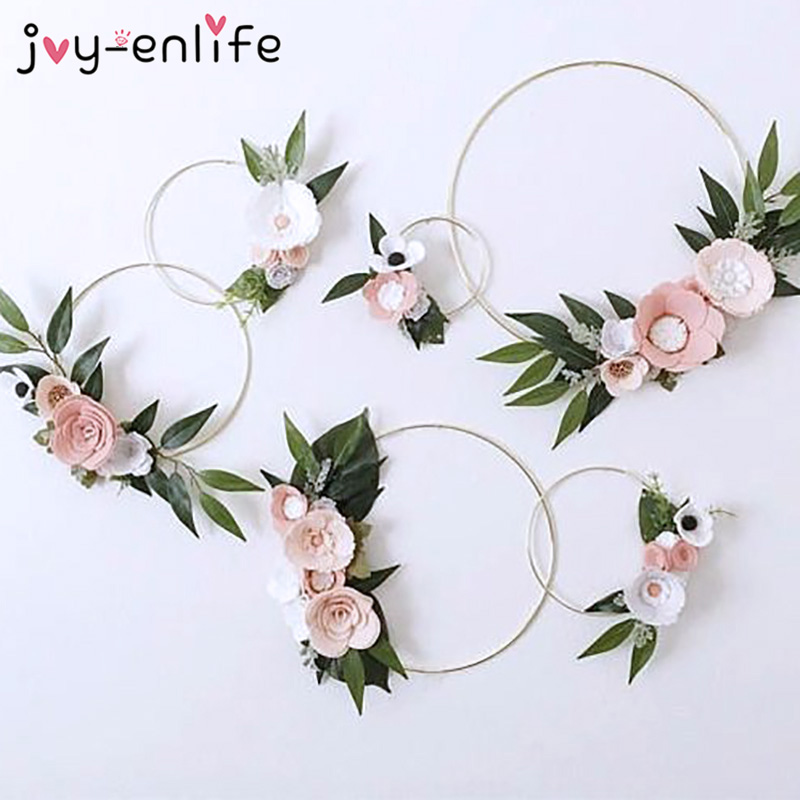 Wedding Decoration 10-40cm Rattan Wreath Metal Hoop Wreath Decor Floral Hoop Christmas Decor for Home Hanging Artificial Flower