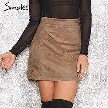 Simplee秋ヴィンテージレザースカート冬スエード鉛筆スカートクロスハイウエストジッパースカートスプリットボディコンミニ女性のスカート