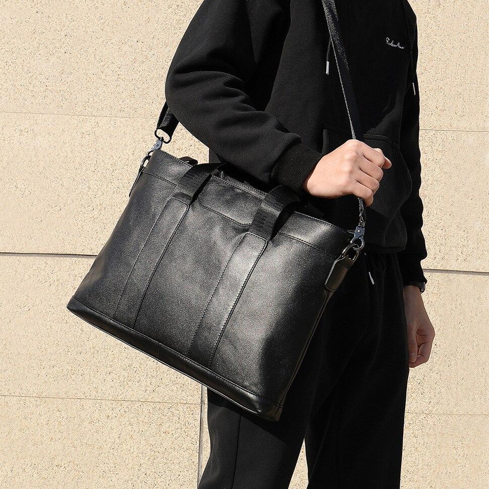 Leather Briefcases Men Business Briefcase Shoulder Bag Portable KUMON Laptop Briefcase Laptop Bag 14 Inch