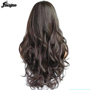 Image 2 - Ebingoo Seite Teil Hohe Temperatur Faser Lange Körper Welle Haar Perücken #2 Dark Brown Synthetische Perücke für Frauen