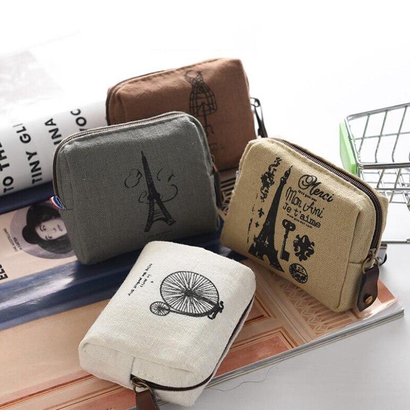 1pcs Cute Linen Pencil Case Kawaii Tower Bike White Grey Coin Purse Mini Wallets Change Pouch Hair Pins Bag Stationary Bag