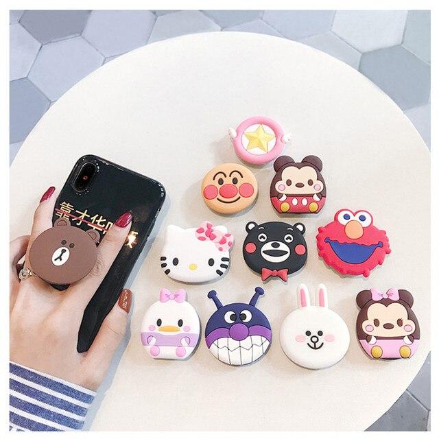 Support pour téléphone Mobile rond Cartoon avec support de support dairbag Extensible Anti chute pour IPhone 6 X XS XR 8 7 6s Samsung