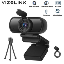 VizoLink Privacy Cover Webcam Real 1080P 200W Pixels Full Hd 110° Wide Angle Camera with Microphone Tripod for Video Conference