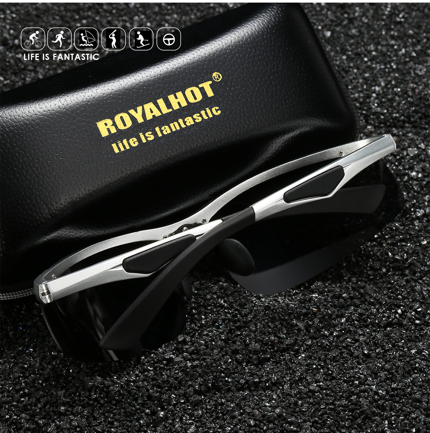 RoyalHot Men Women Polarized Aloy Rectangle Frame Sunglasses Driving Sun Glasses Shades Oculos masculino Male p60011