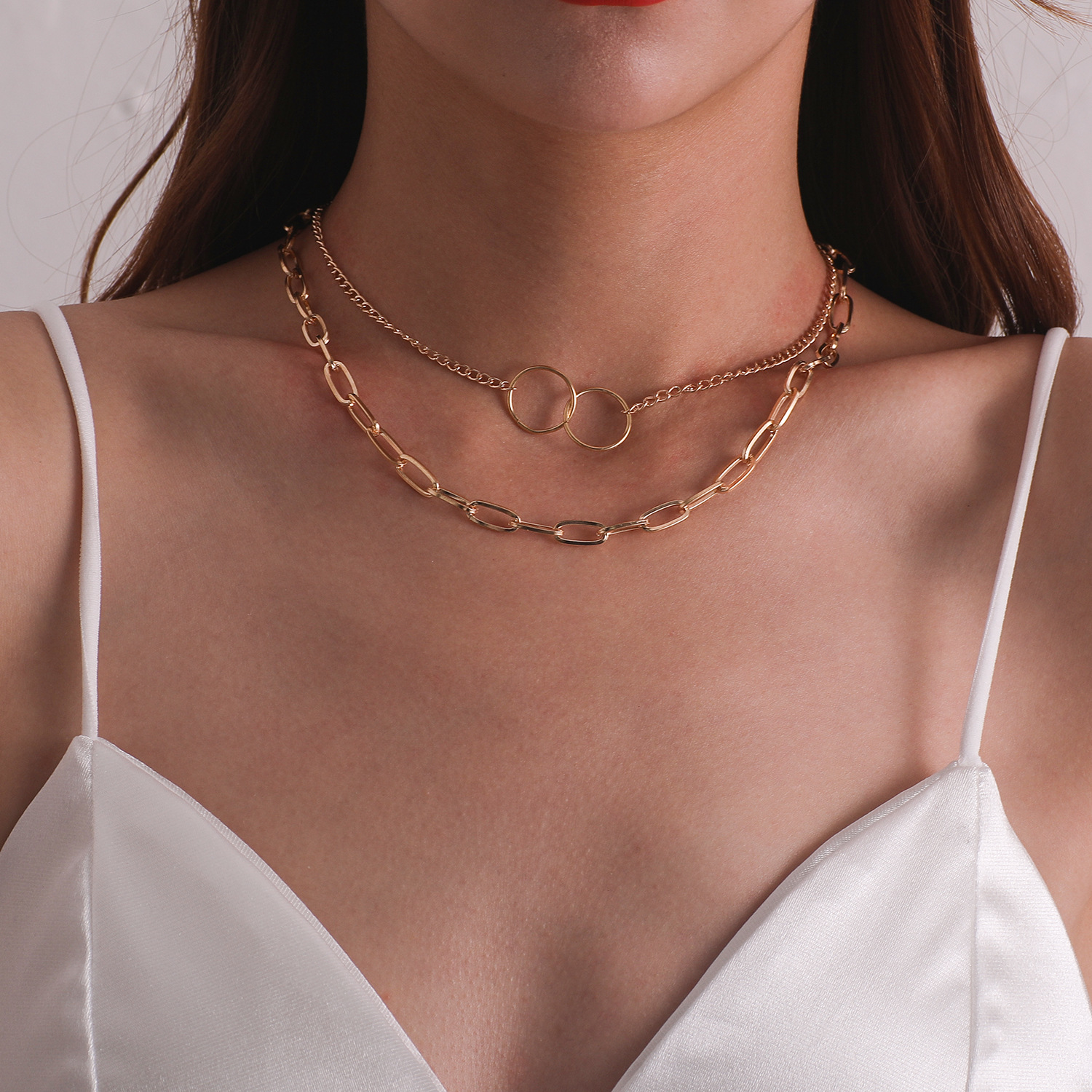 Alloy Square Thick Chain Circles Pendant Necklaces for Women Gold Color Fashion Jewelry Short Necklace Female Clavicle Chains