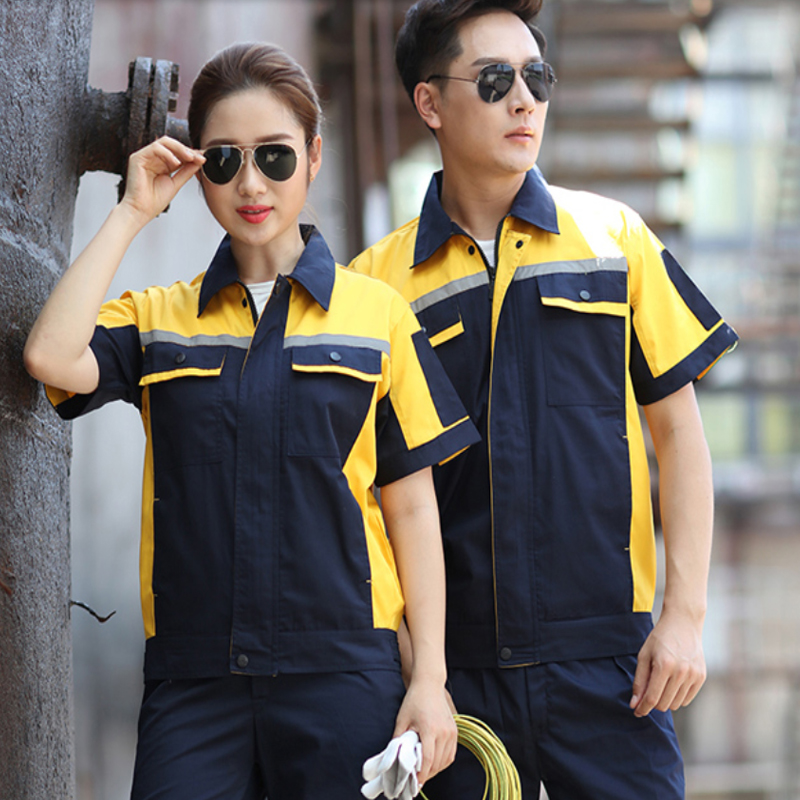 Plus Size Summer Short Sleeve Working Clothes Set Labor Mechanical Workshop Uniforms Auto Repair Factory Engineering Coveralls