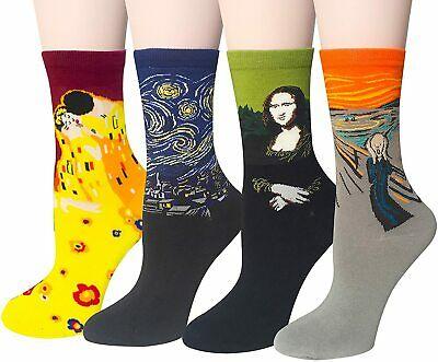 Womens Fun Socks Famous Painting Patterned Art Socks Oil Painting Crew Long Cotton Socks 2020 Hot Fashion Trendy Mona Lisa Socks