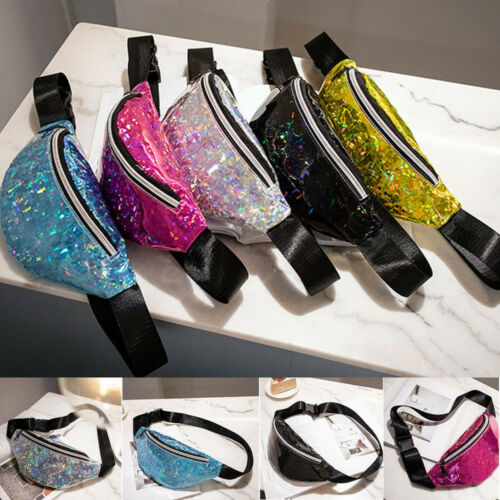 Local Stock Sequins Holographic Fanny Pack Feminina Waist Pack Women's Laser Chest Waist Bag Women Belt Bag Bum Bag 2020 New