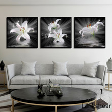 Nordic Black White Abstract Flower Poster Canvas Art Print Wall Pictures Rose Painting Scandinavian Style Home Decor For Bedroom