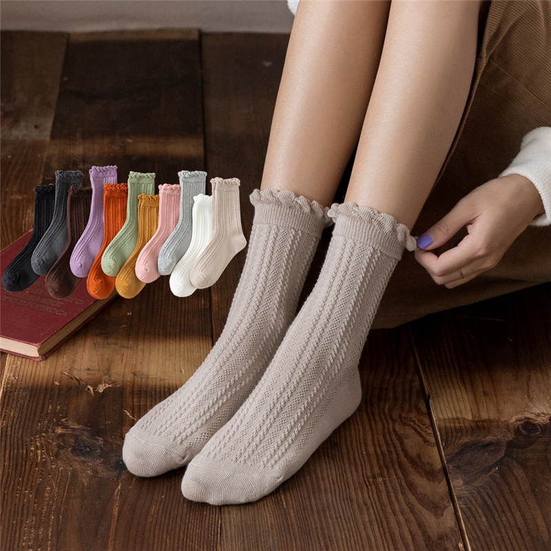 Cute Vertical Stripes Solid Color Crew Socks Women Girl Cotton School Three Dimensional Twist Japanese White Black Loafer Socks