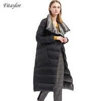 Fitaylor Winter Women Down Coat Double Sided Down Jacket Plus Size Double Breasted Ultra Light Warm Parkas Snow Outwear