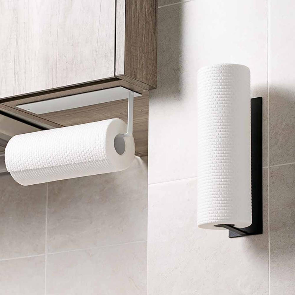 Kitchen Self-adhesive Roll Paper Rack Towel Holder Tissue Hanger Rack Nail-Free Cabinet Shelf Sundries Accessories