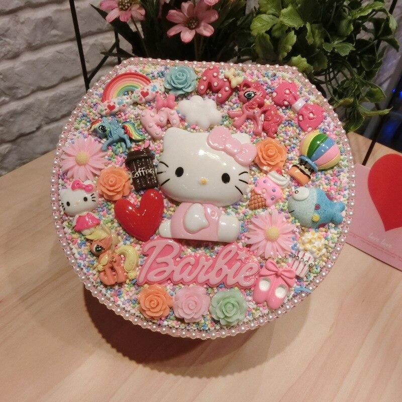 Perle Helloo Kitty boîte à bijoux travail manuel bijoux emballage boucle d'oreille organisateur 2 pneus belle perle conteneurs de stockage boucle d'oreille titulaire
