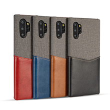 Cloth + Leather Phone Case For Samsung Galaxy Note 10 Plus S10 S9 S8 S10e 9 8 With Card Slot Slim Canvas Cover