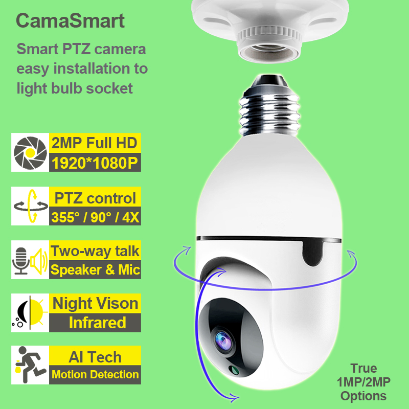 WiFi Security Camera Indoor PTZ Led Light Bulb Control Night Vision Two Way Talk Baby Monitor Ycc365plus App for Home Use