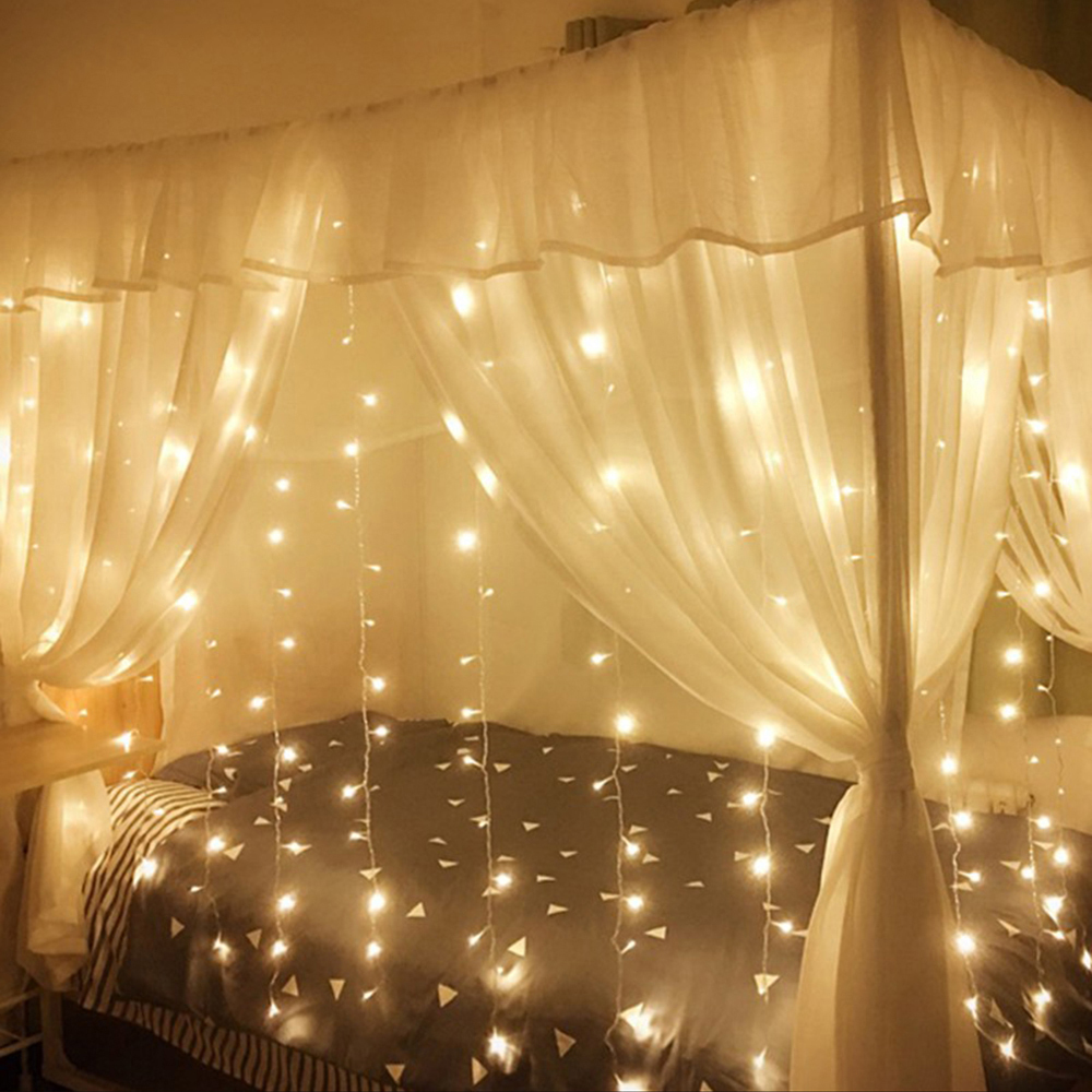 Led Fairy Lights 4M Waterproof 8 Mode Cutain Christmas Garland Outdoor Indoor String Light For Home New Year Party Decorative