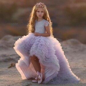 Новинка 2020 года; кружевное платье с цветочным узором для девочек; платье для первого причастия для маленьких девочек; праздничное платье пр...