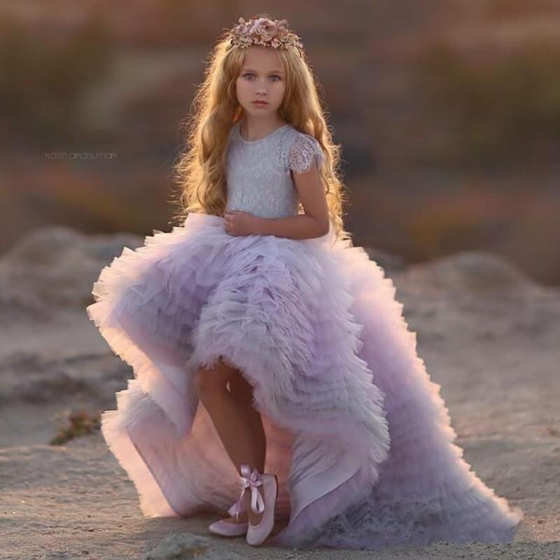 Vestidos da Menina Vestidos para Menina Nova Alta Baixa Renda Flor Jewel Neck Primeira Comunhão Mangas Curtas Princesa Meninas Pageant 2020