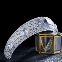 Luxury Vintage Zirconia Crown Princess Tiara Bride Royal Jewelry Crowns Headband Wedding Hair Accessories Headband Headpiece