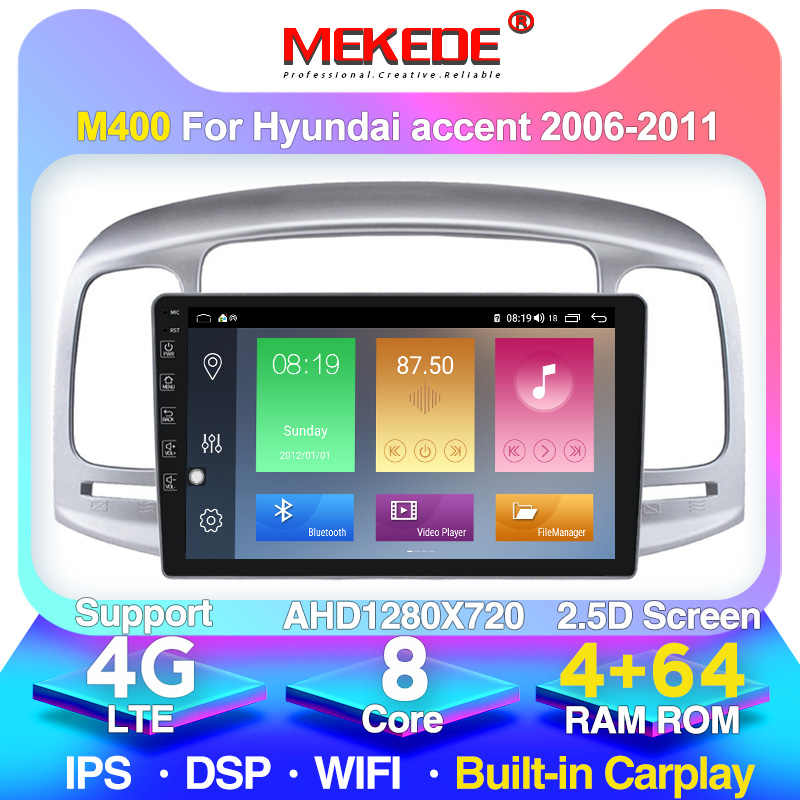 2.5D IPS DSP Android 2din 4 + 64G Mobil Multimedia GPS Navigasi untuk Hyundai Accent 2006-2011 Head unit Bluetooth RADIO Stereo