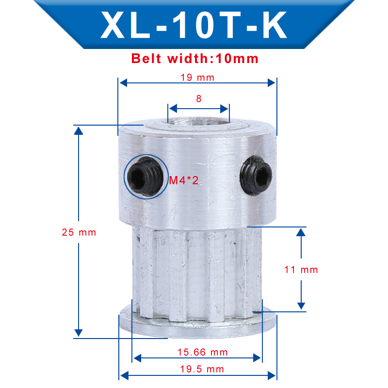 XL 10T Timing Pulley Bore 4/5/6/6.35 mm Teeth Pitch 5.08 mm Aluminum Pulley Wheel Teeth Width 11 mm For 10 mm XL Timing Belt