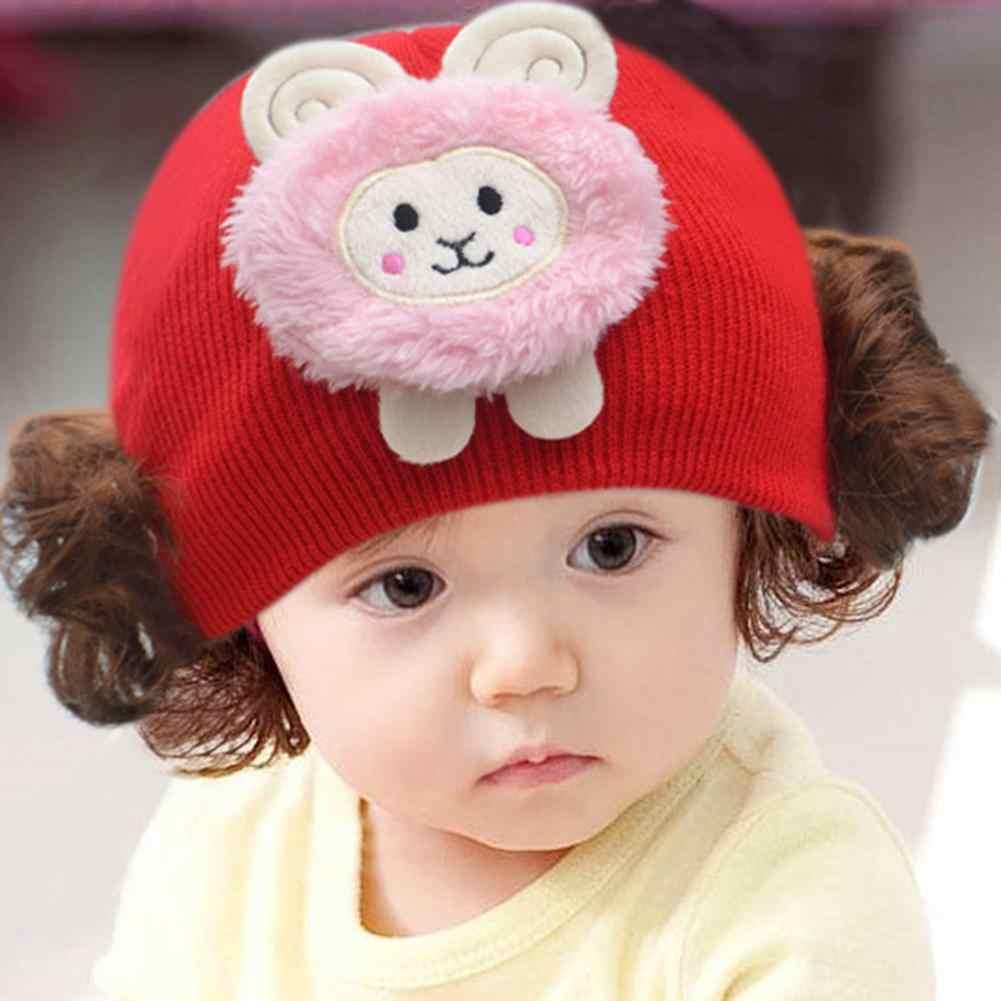 Sevimli tavşan hayvan bebek kız erkek yün iplik örme peruk şapka kafatası Cap Beanie saç aksesuarları bere peruk şapkalar kap sevimli