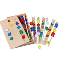 Montessori Materials Trisomy Six Colors Beads Baby Sensory Child Educational Wooden Toys Kindergarten Learning