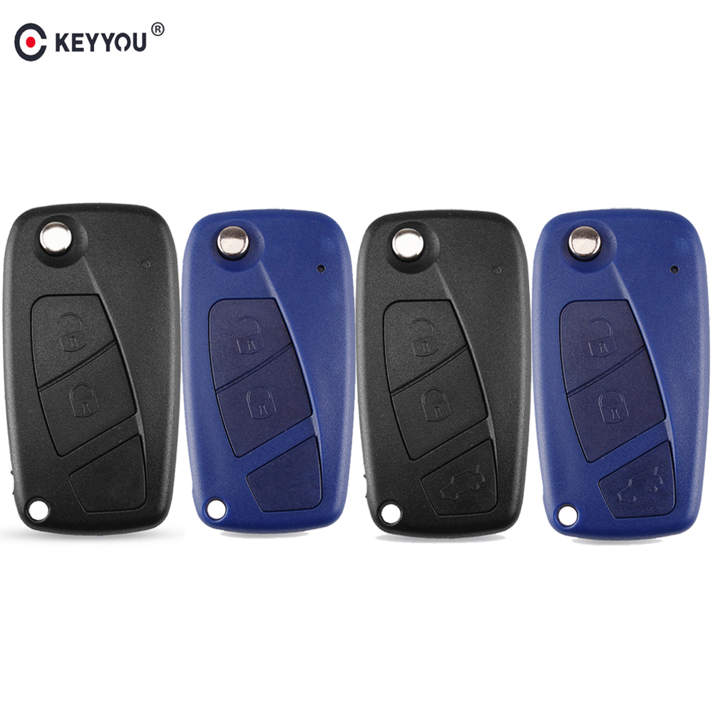 KEYYOU 2/3 Buttons Flip Remote Key FOB Case Shell For FIAT Iveco Punto Ducato Stilo Panda Idea Doblo Bravo Fob Switchblade Key